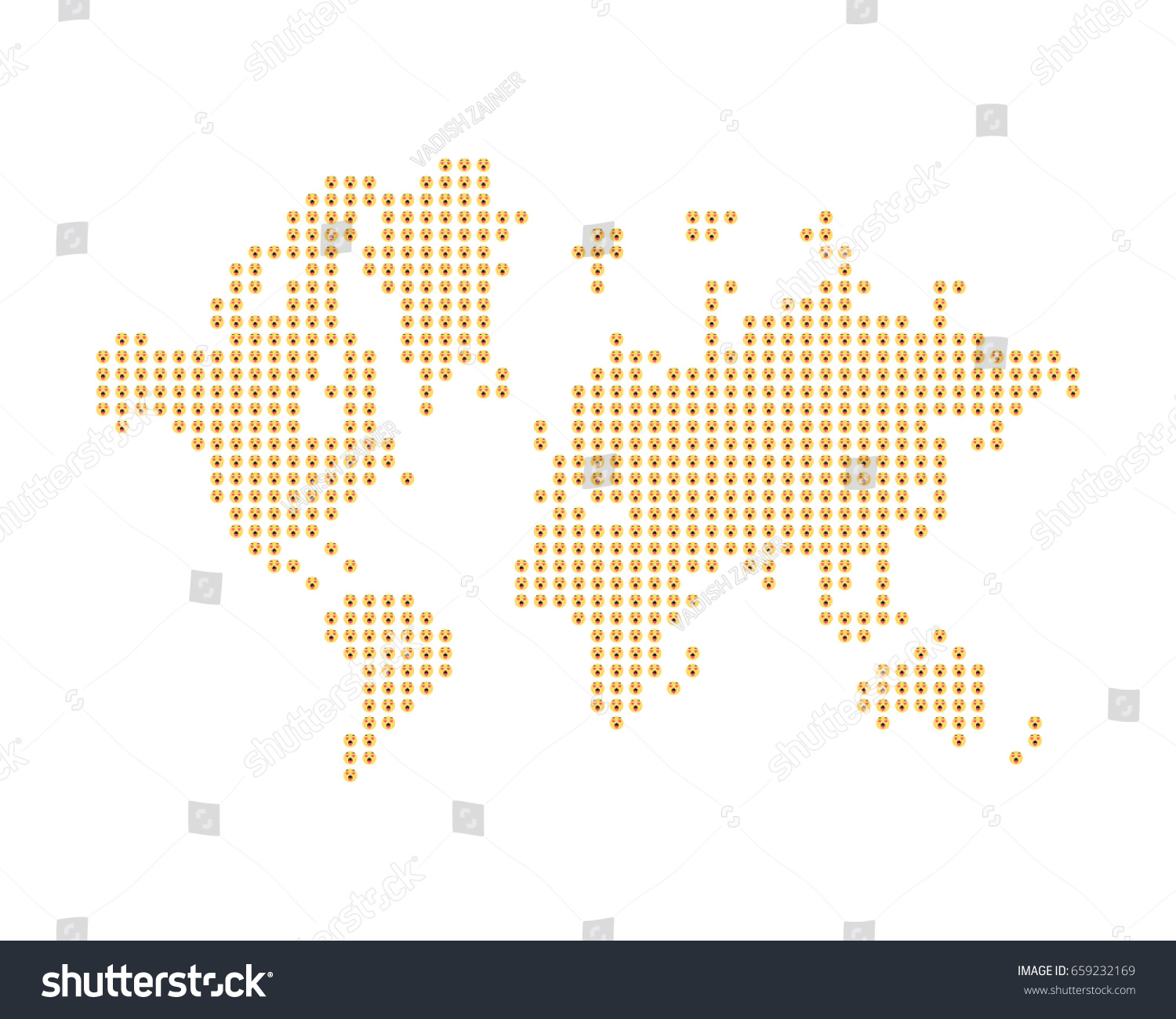 World map consists yellow emoji concept stock vector 659232169 the world map consists of yellow emoji a concept on social networks flat vector gumiabroncs Images