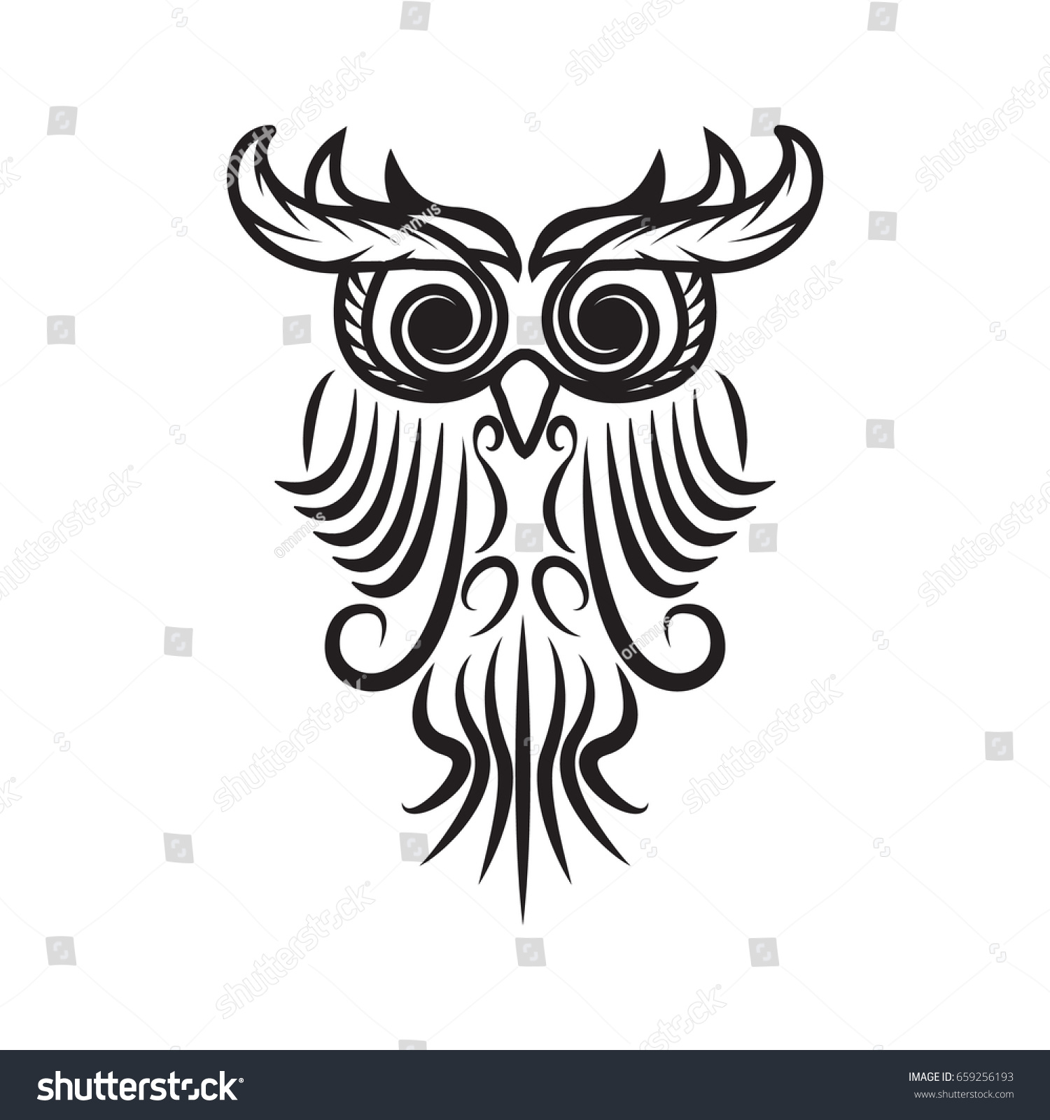 Owl Tribal Owl Tatto Owl Stock Vector (Royalty Free) 659256193 ...