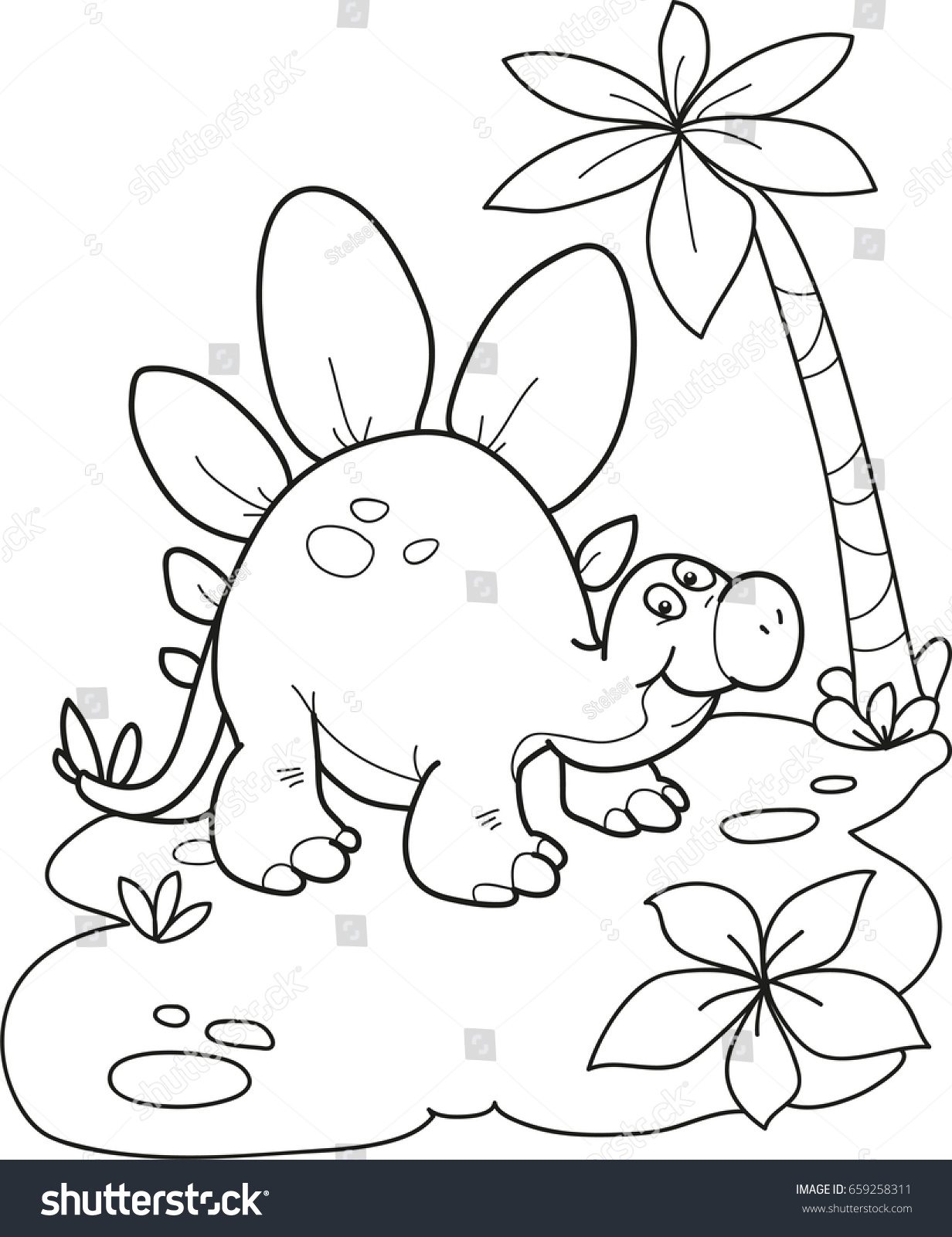 coloring page outline cartoon dinosaur vector stock vector