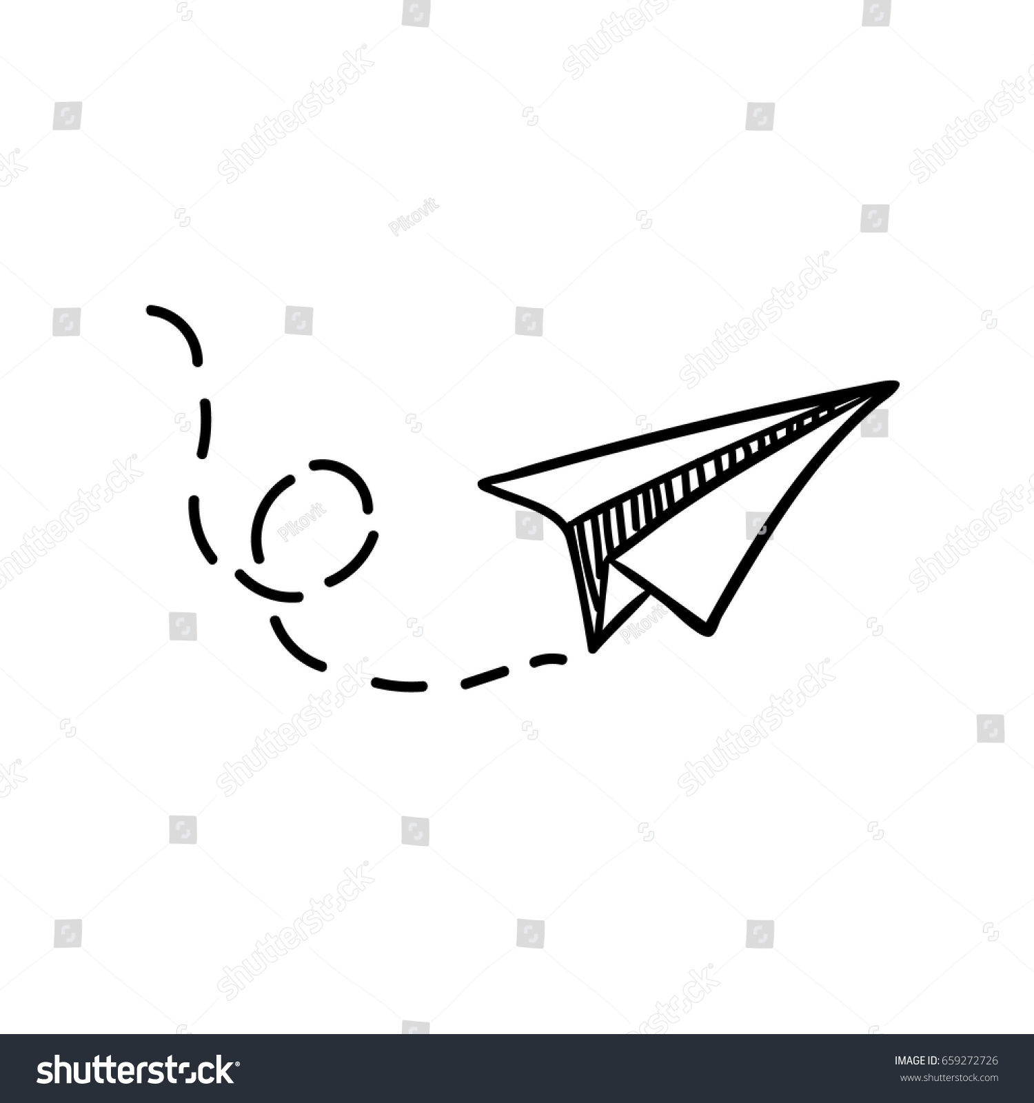 Vector paper airplane travel route symbol stock vector 659272726 vector paper airplane travel route symbol vector illustration of hand drawn paper plane buycottarizona Gallery