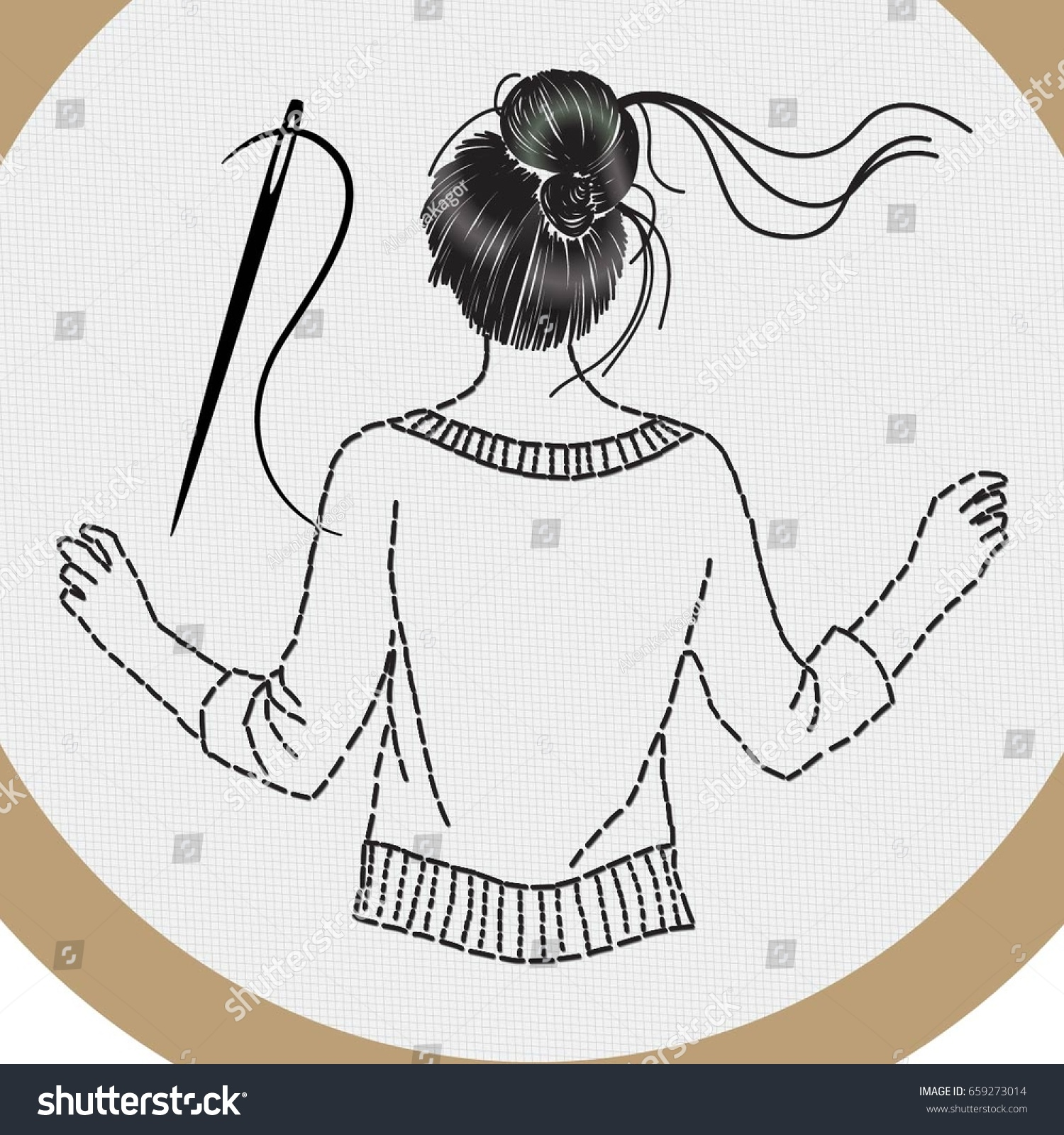 Girl Style Embroidery Stitches Hair Bun Stock Vector Royalty Free