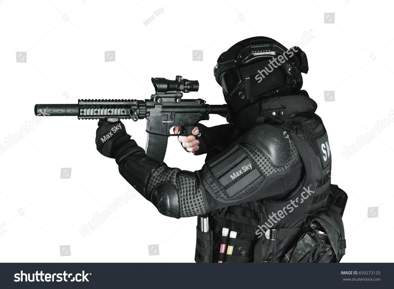 Member Swat Team Assault Rifle On Stock Photo Edit Now 659273125
