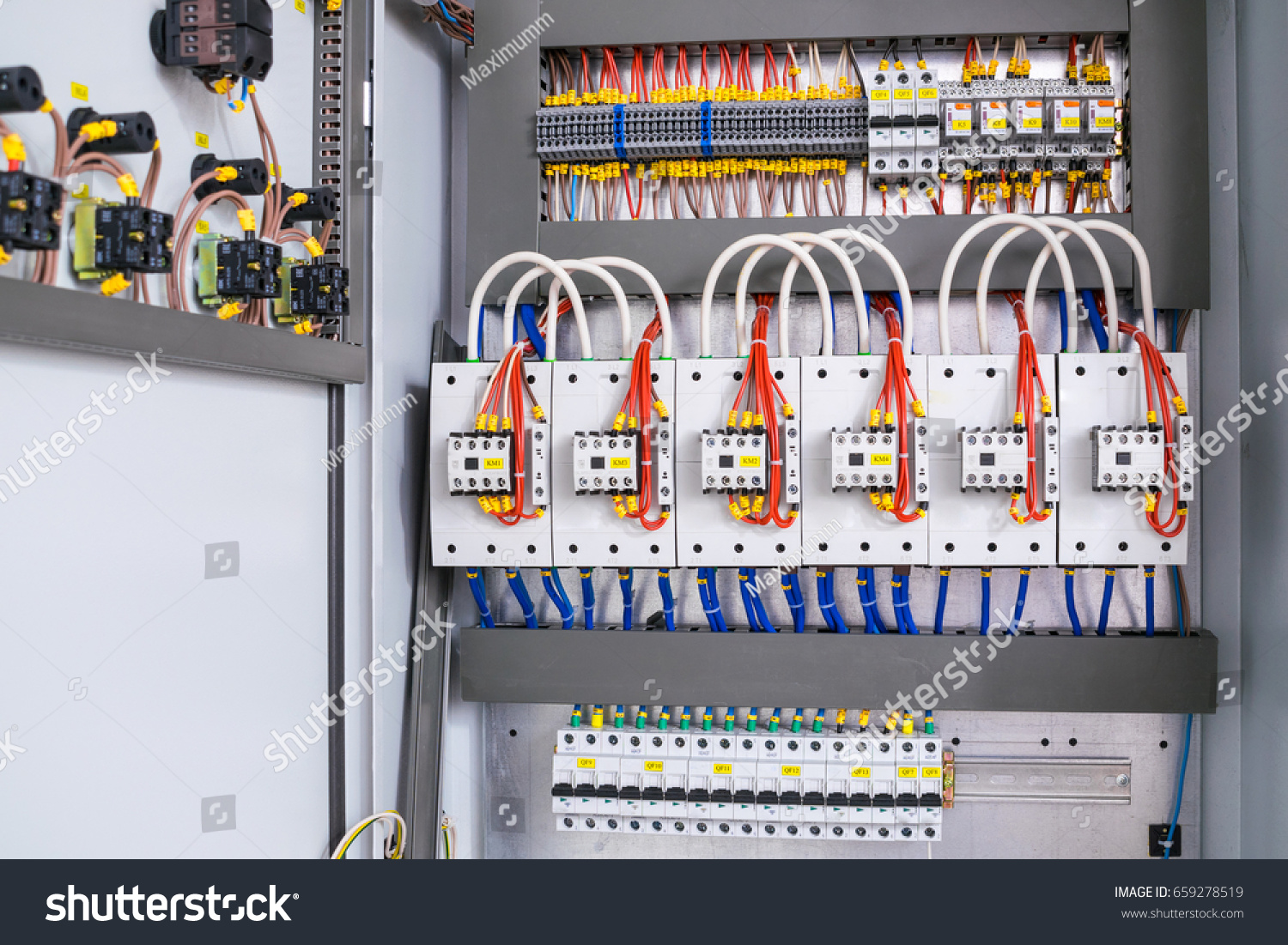 Open Electrical Box Switching Equipment Many Stock Photo Edit Now Circuit Breaker With Wires Contacts And Terminal Blocks Close