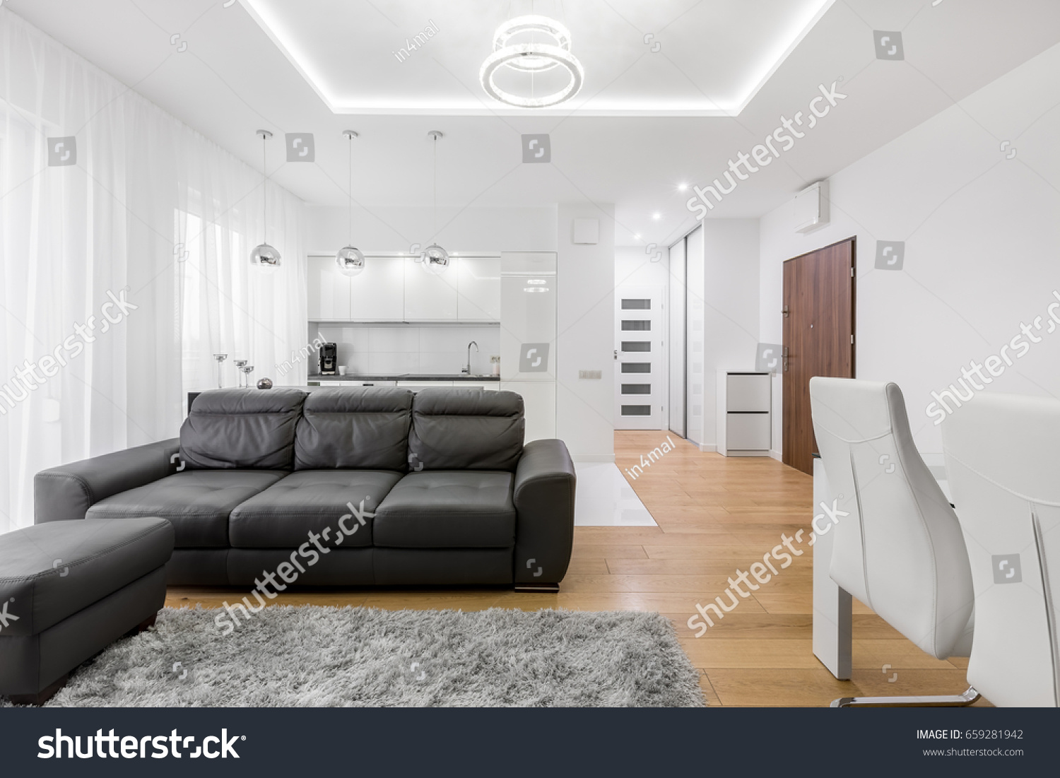 White Living Room Leather Sofa Open Stock Photo (Edit Now)- Shutterstock