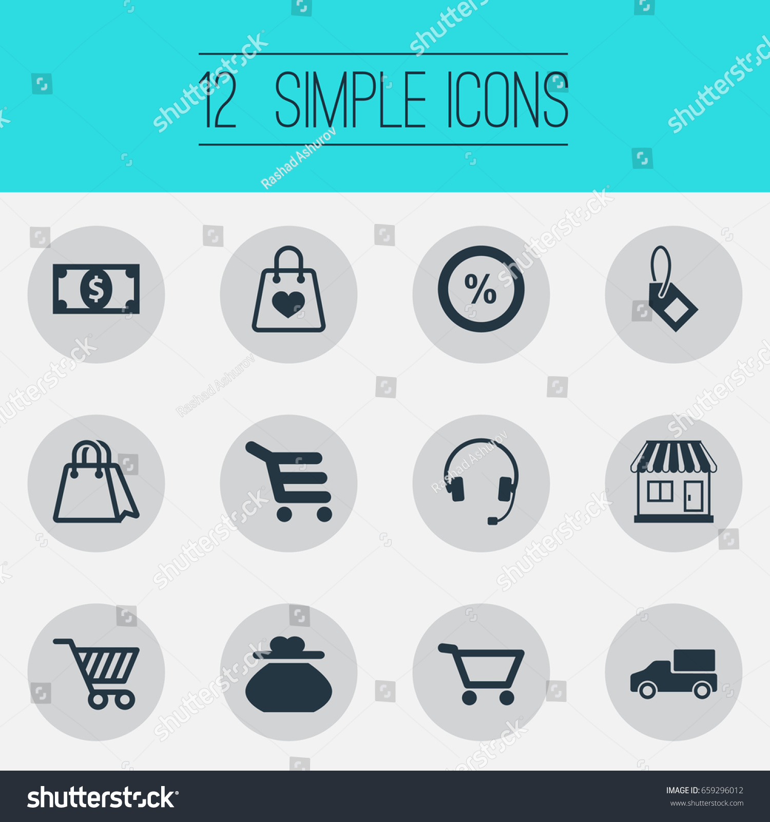 Vector illustration set simple basket icons stock vector 659296012 vector illustration set of simple basket icons elements currency package sale and other biocorpaavc