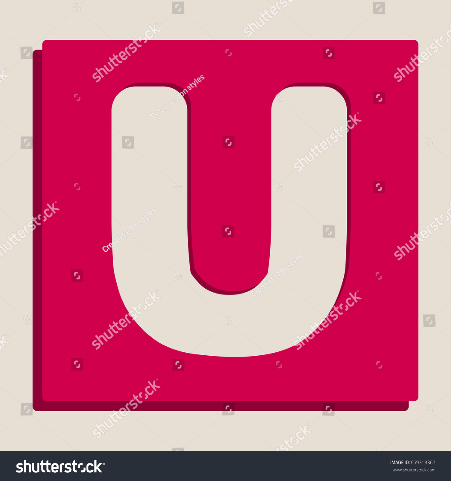 Letter U sign design template element. Vector. Grayscale version of ...