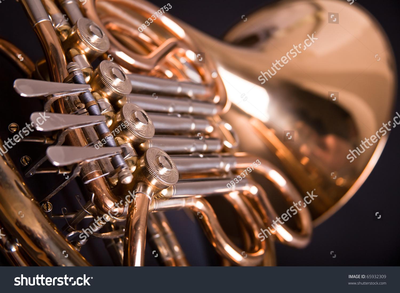 French Horn On Dark Background Stock Photo 65932309 ...
