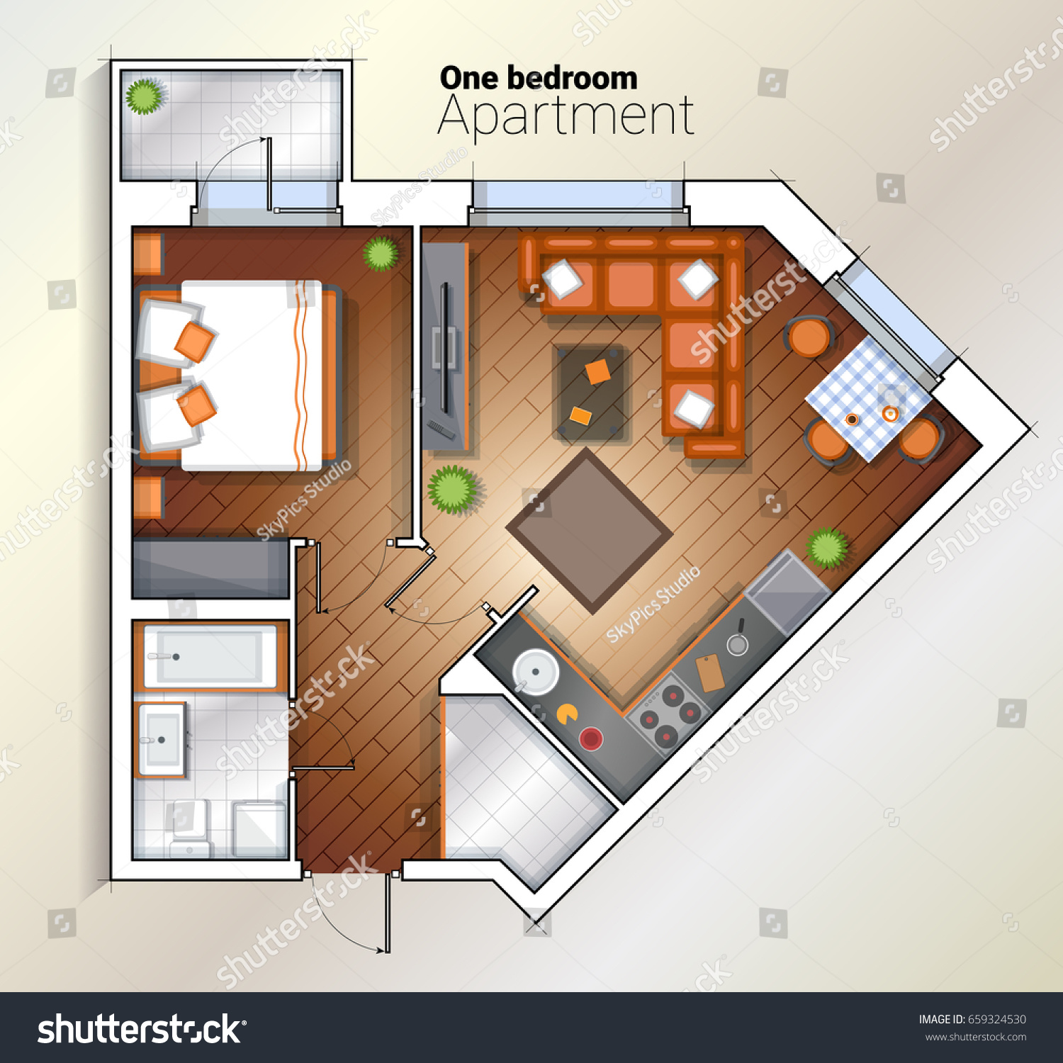 Vector top view color architectural floor stock vector for Color floor plans