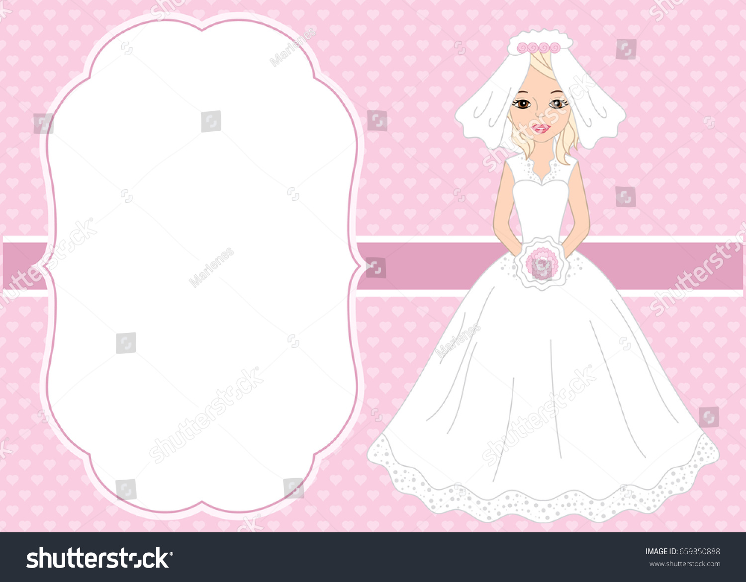 Vector Card Template Beautiful Bride On Stock Vector Royalty Free