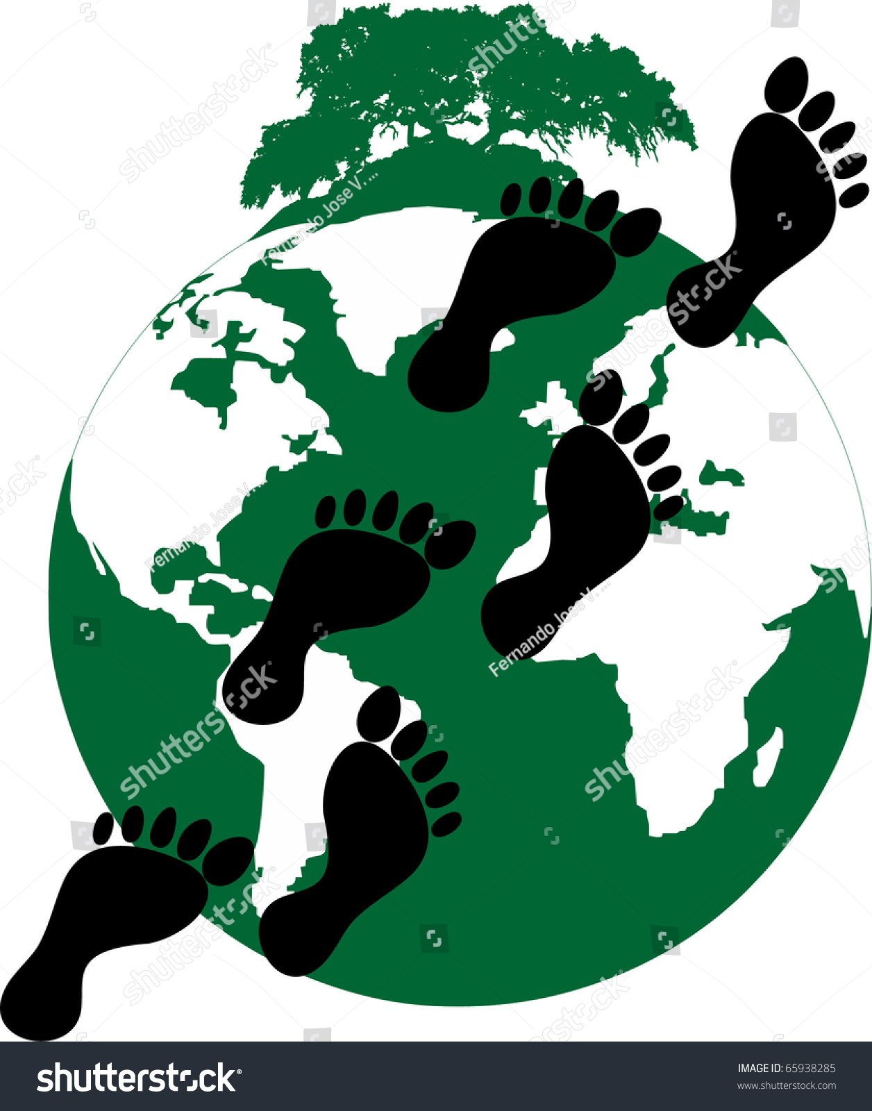 Illustration Ecological Footprint Mankind On Planet Stock Vector ...