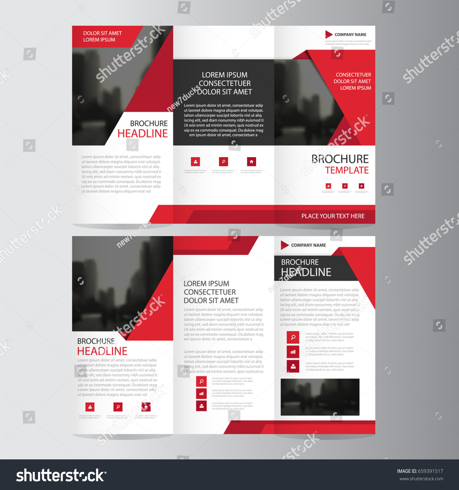 Red Triangle Business Trifold Leaflet Brochure Stock Vector Royalty