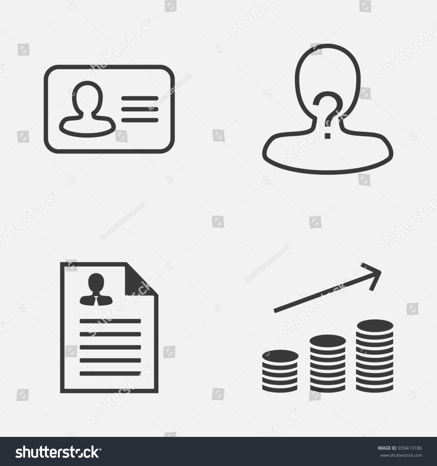 Resources Icons Set Collection Personal Badge Stock Vector 659413186
