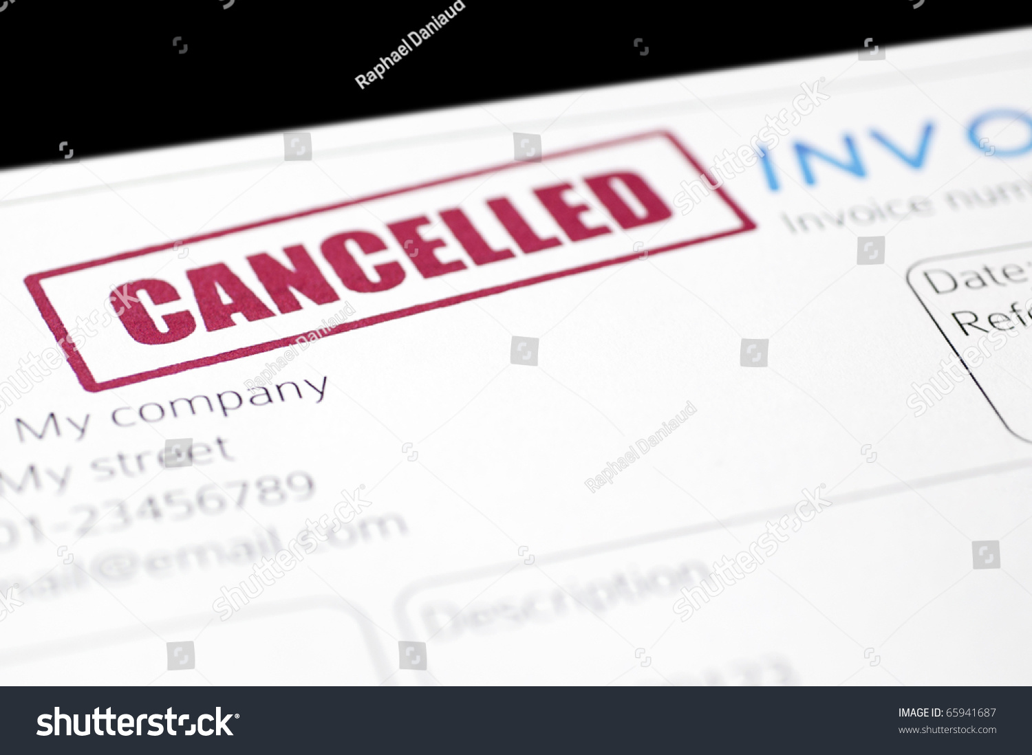 closeup picture invoice red cancelled stamp stock photo edit now