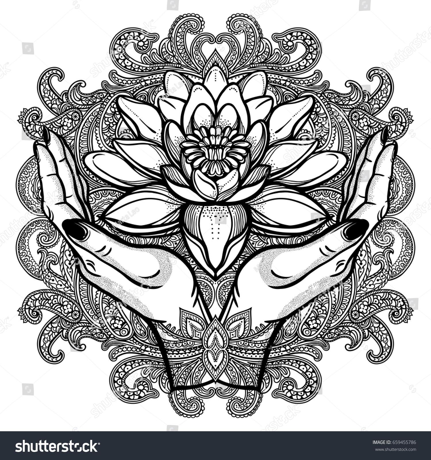Hand drawn beautiful lotus flower hands stock vector royalty free hand drawn beautiful lotus flower in hands water lily motif spiritual art for tattoo mightylinksfo