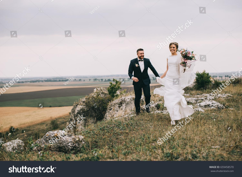 Portrait Girl Couples Looking Wedding Dress Stock Photo Edit Now