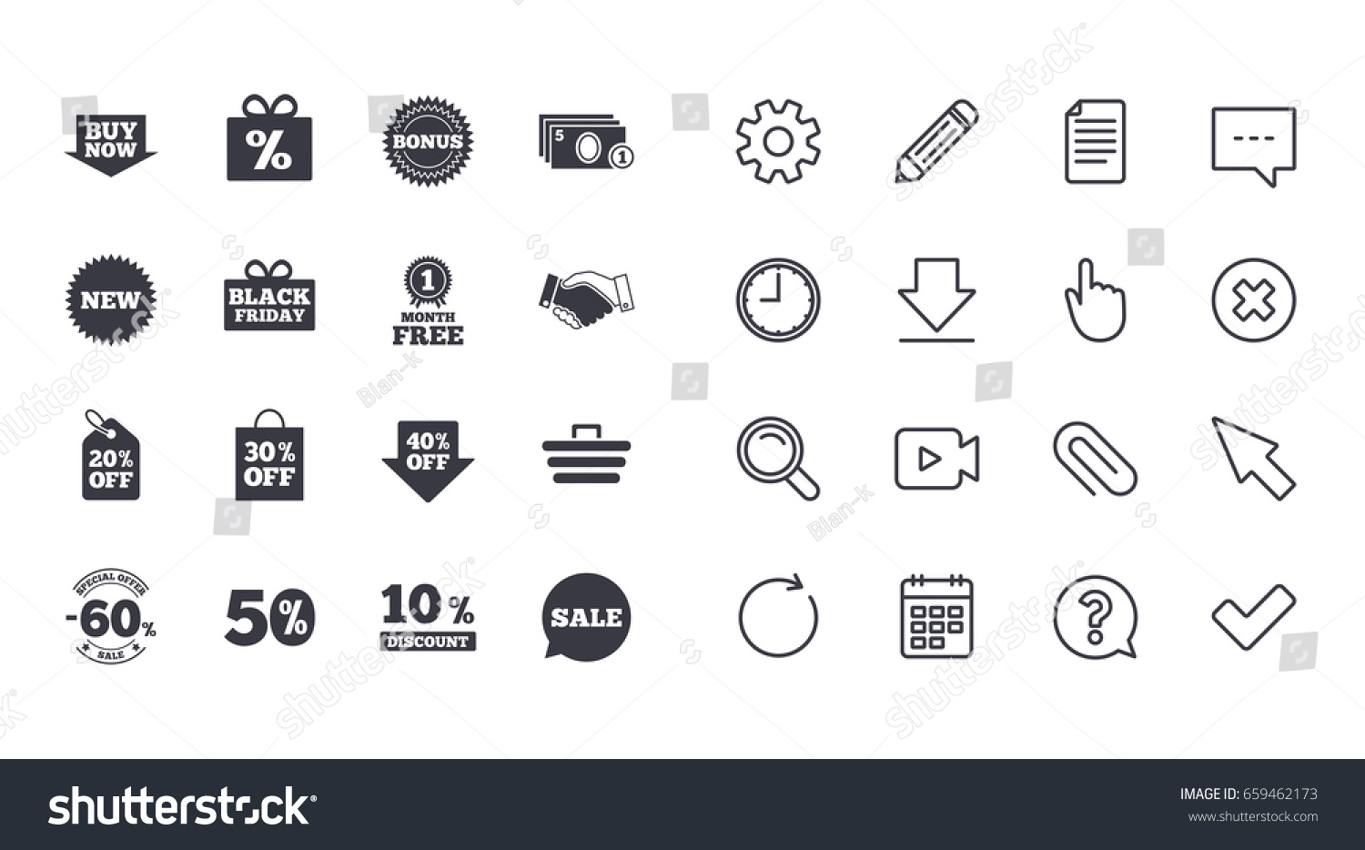 Set shopping sale discounts icons gift stock vector 659462173 set of shopping sale and discounts icons gift box deal and shopping cart buycottarizona
