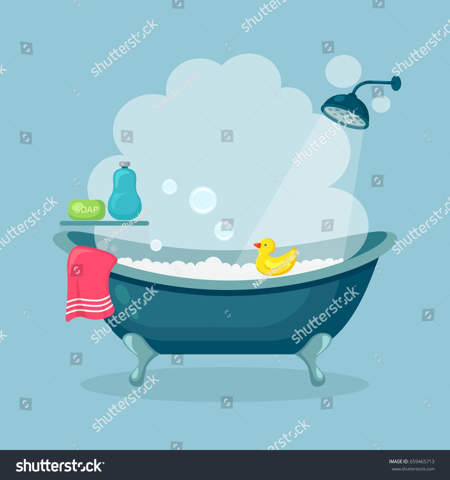 Bathtub Full Foam Bubbles Isolated On Stock Vector (Royalty Free ...