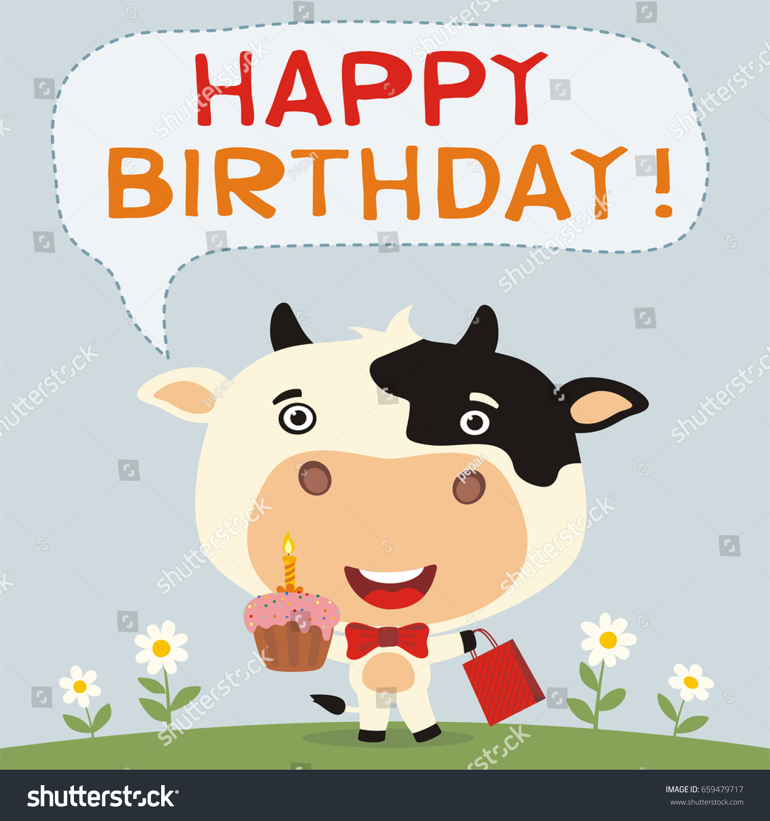 Happy Birthday Funny Cow Cake Gift Stock Vector Royalty Free