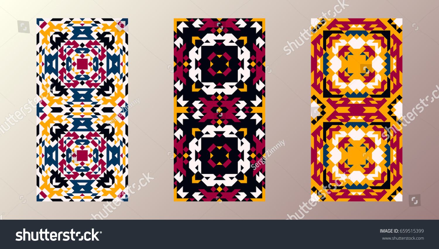 3 Seamless Patterns Navajo Triangular Style Stock Vector (2018 ...