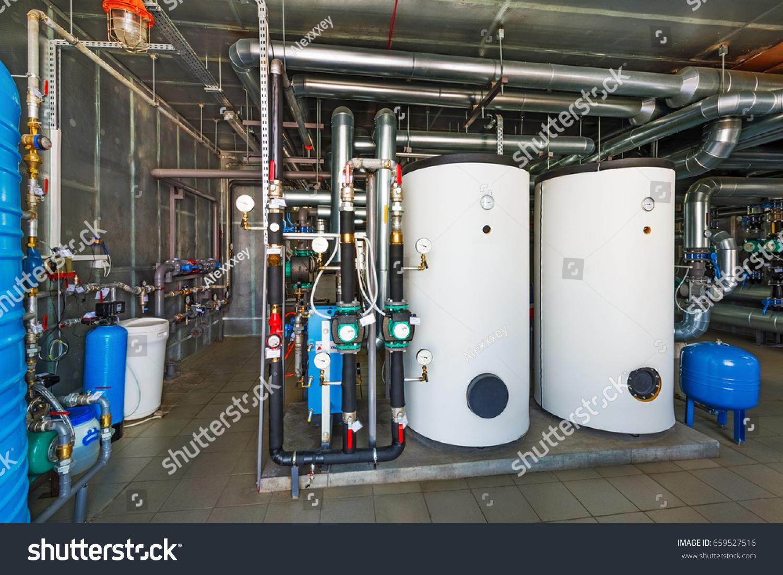 Interior Modern Gas Boiler House Pumps Stock Photo (Royalty Free ...