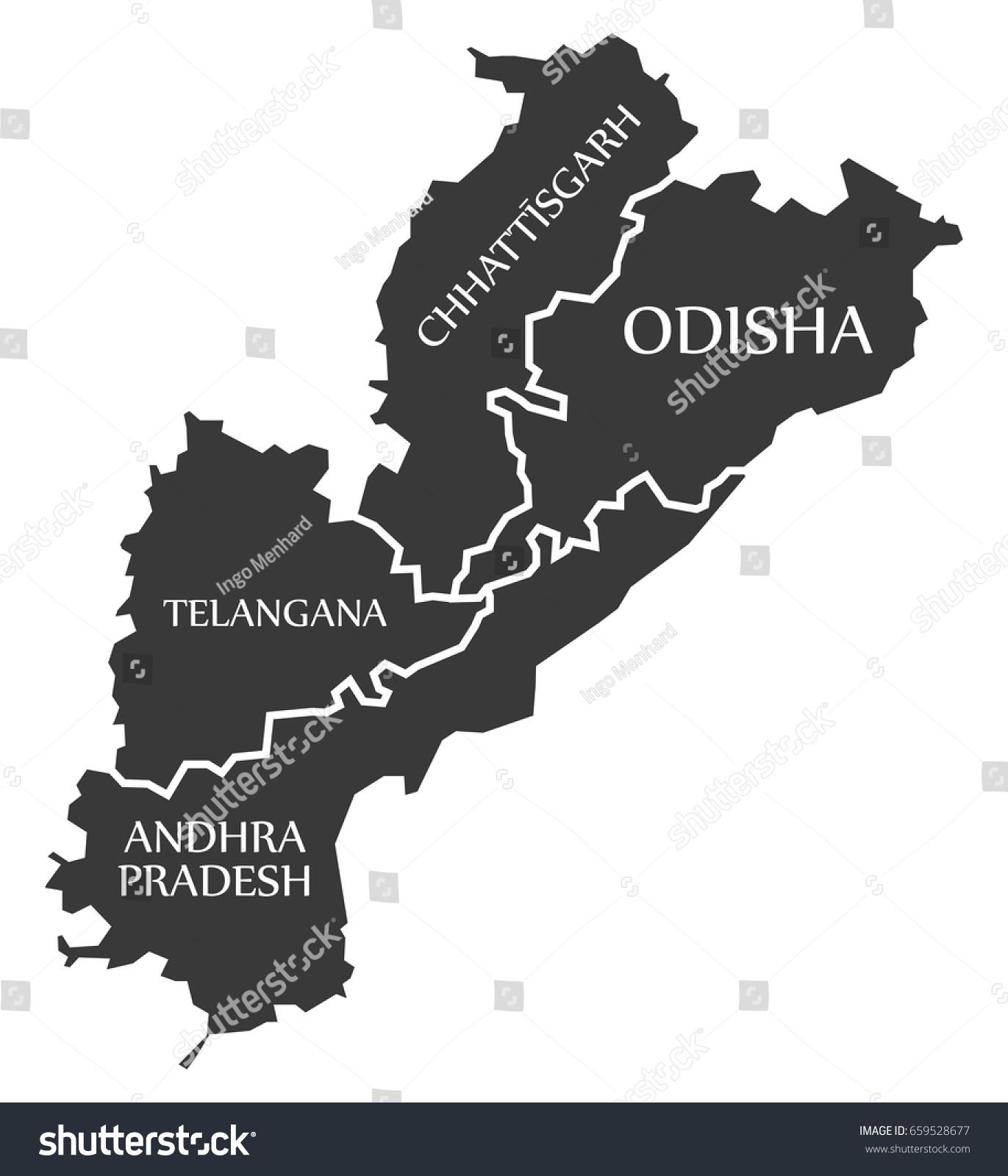 Andhra Pradesh Telangana Chhattisgarh Odisha Map Stock Vector ...