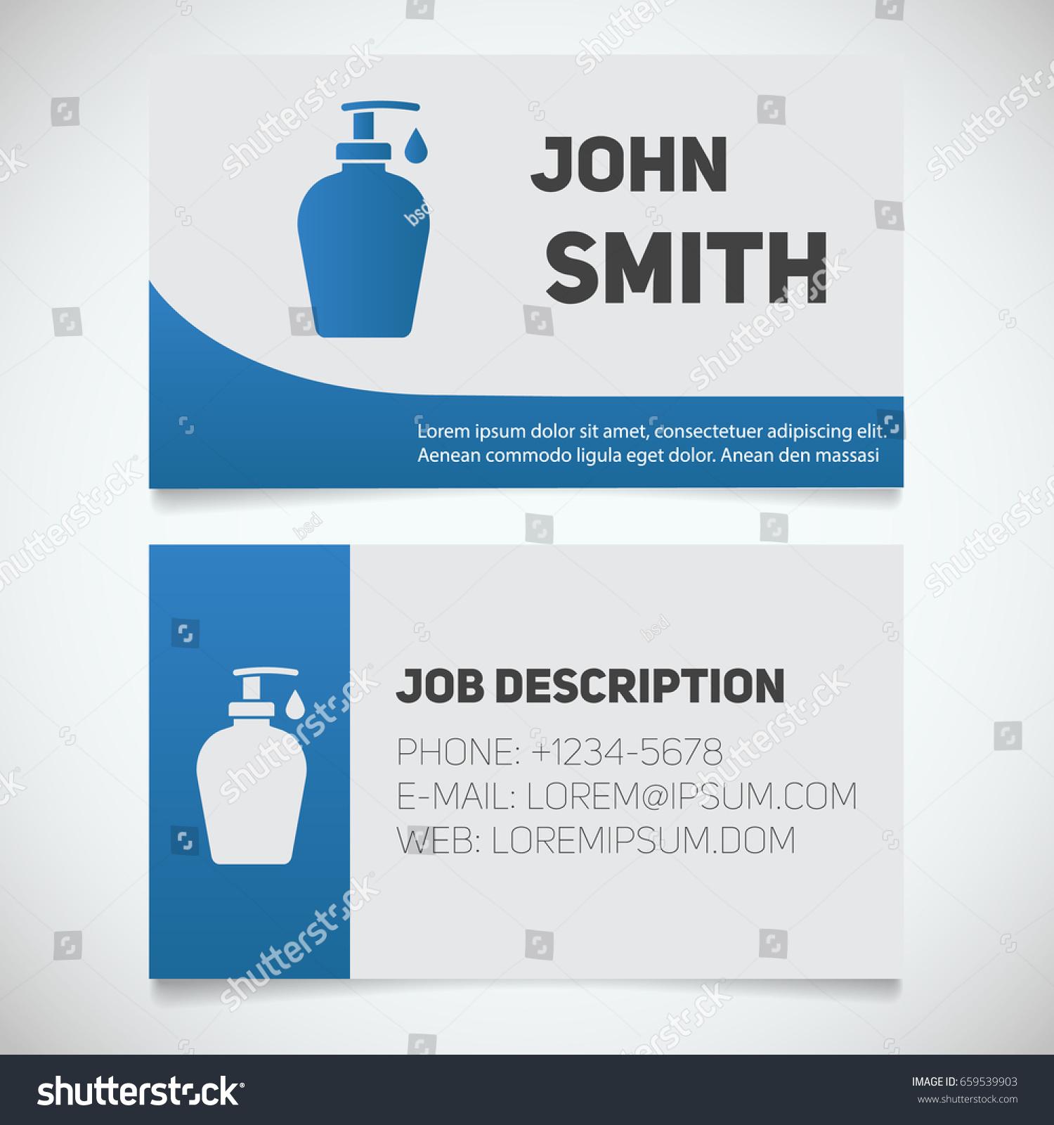 Business Card Print Template Liquid Soap Stock Vector 659539903 ...