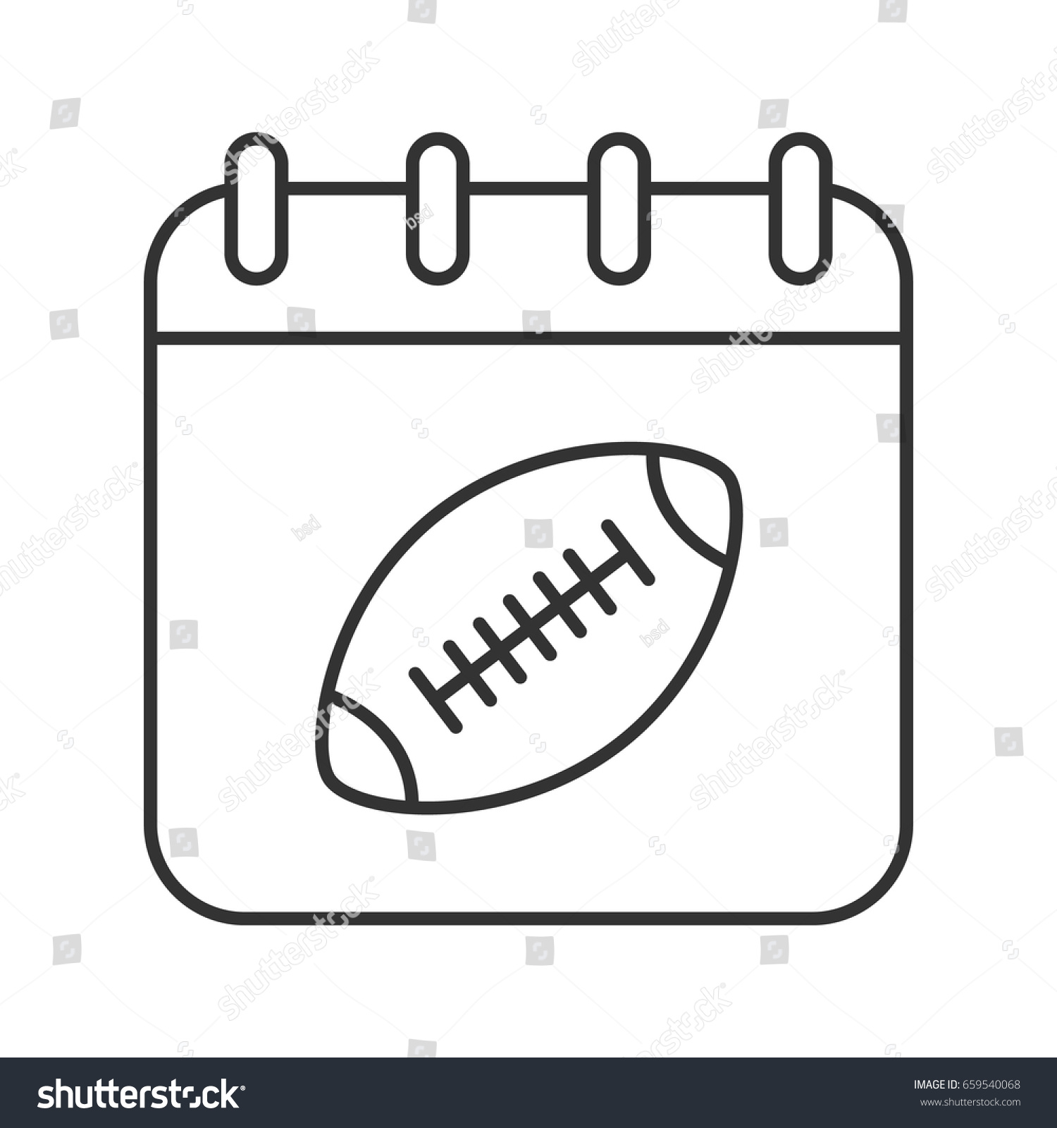Super bowl date linear icon thin stock vector 659540068 shutterstock super bowl date linear icon thin line illustration calendar page with american football ball biocorpaavc
