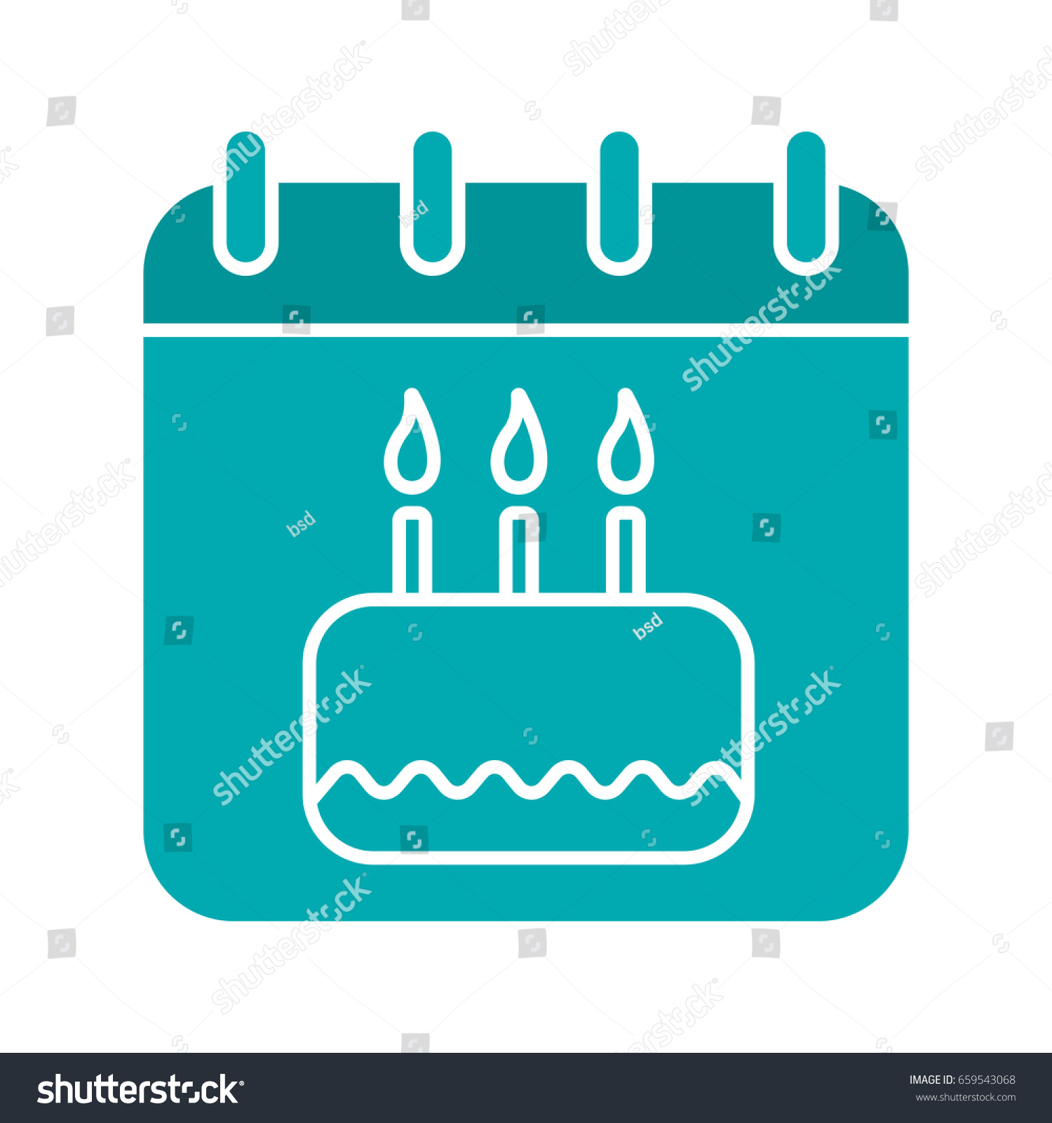 Birthday Glyph Color Icon Calendar Page Stock Vector 659543068