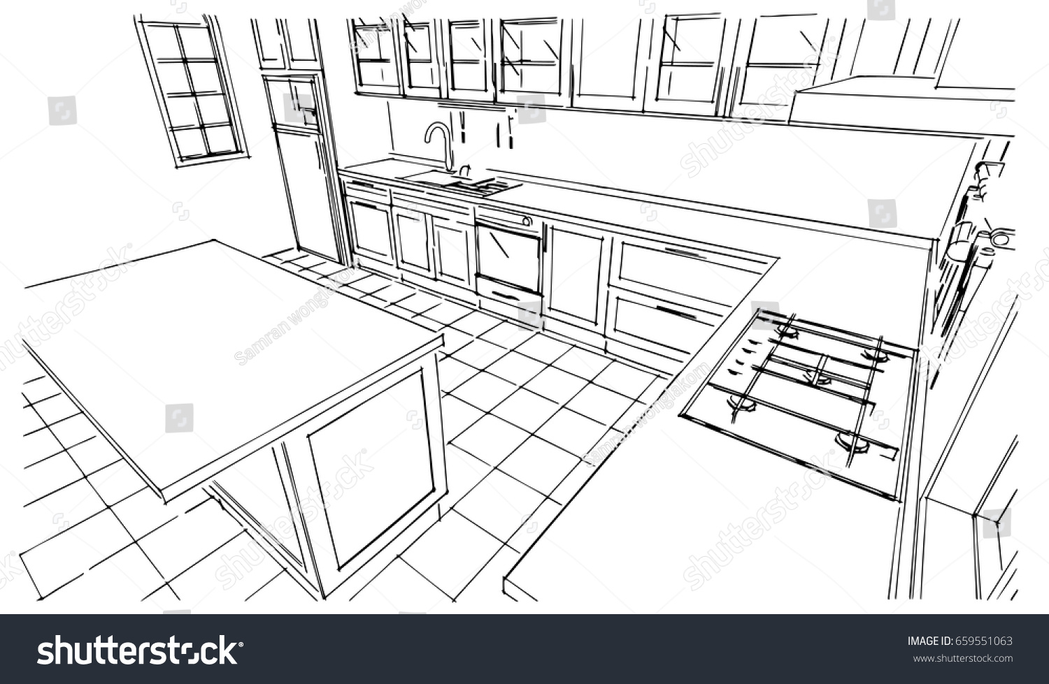 Kitchen Drawing Perspective perspective kitchen sketch design stock vector 659551063