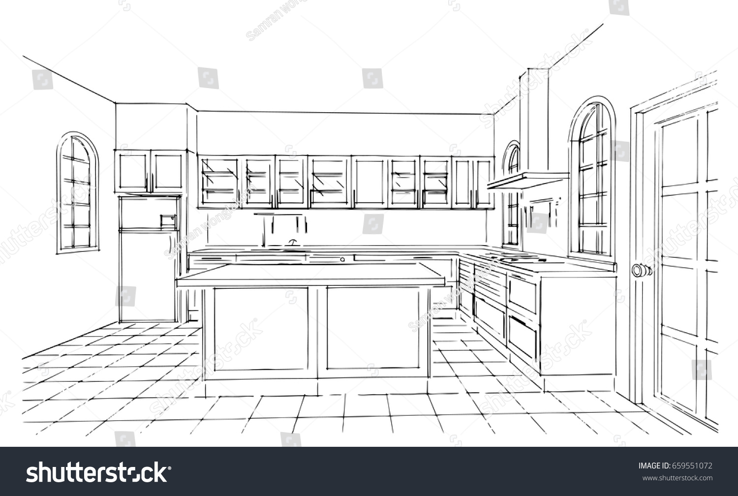 Perspective Kitchen Sketch Design Stock Vector Royalty Free