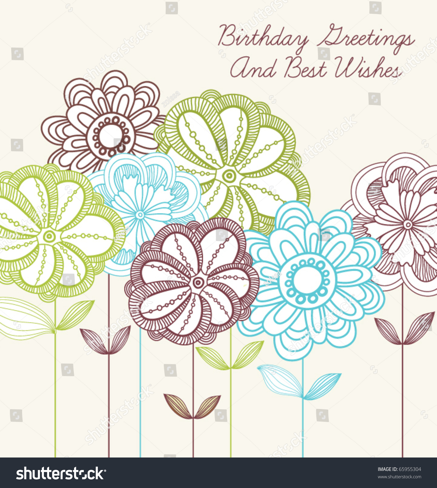 romantic vector happy birthday card flowers stock vector, Birthday card