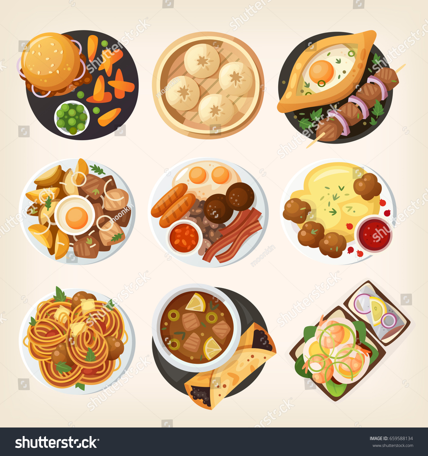 Dinner table top view - Dinner Table Closeup Top View On Classic Dinner Dishes From Different Countries Of The World