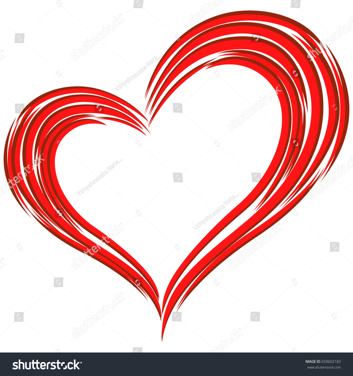 Stylized Red Heart Symbol Love Isolated Stock Vector Royalty Free