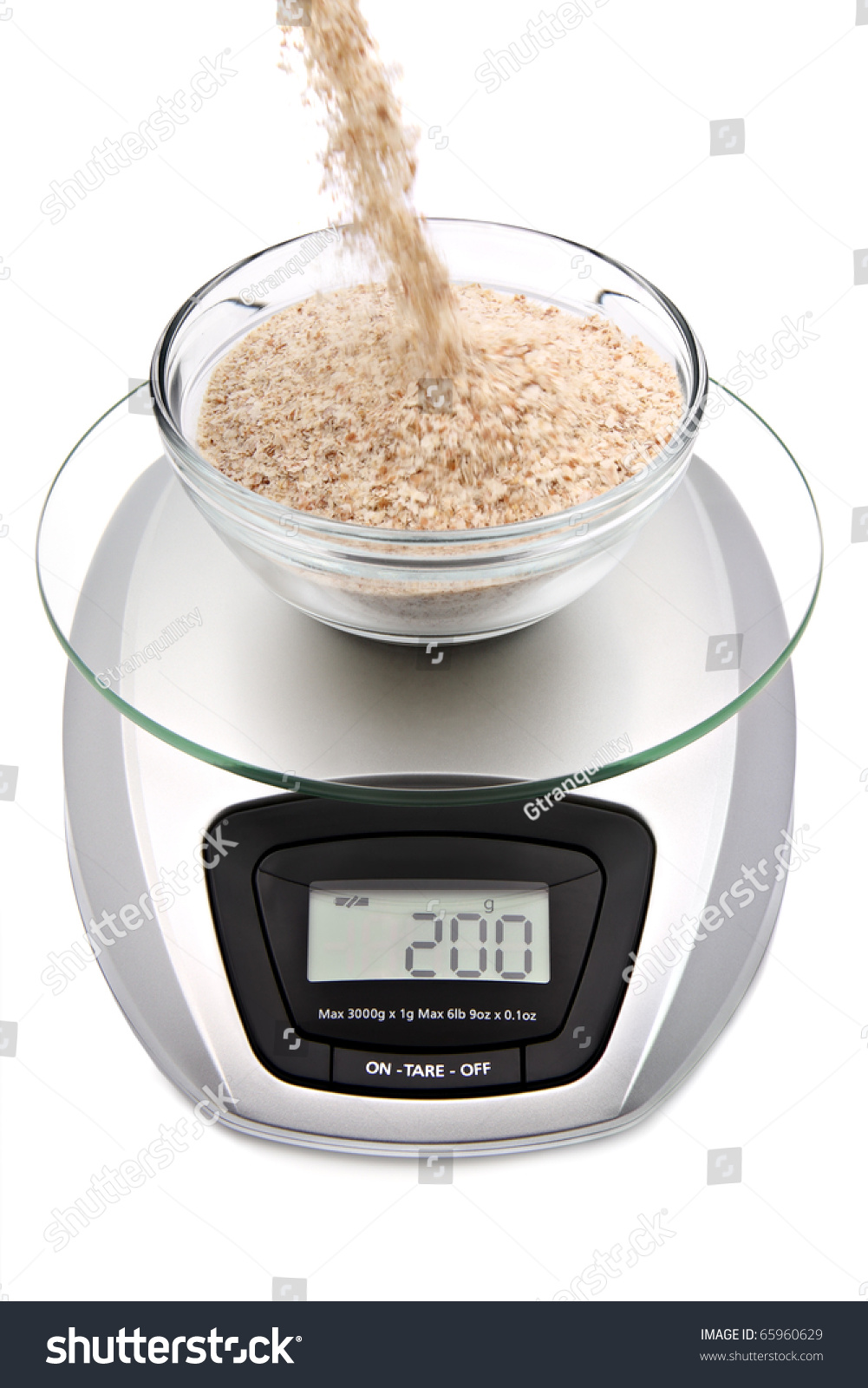 Digital Kitchen Scale With Bowl Of Oat Bran