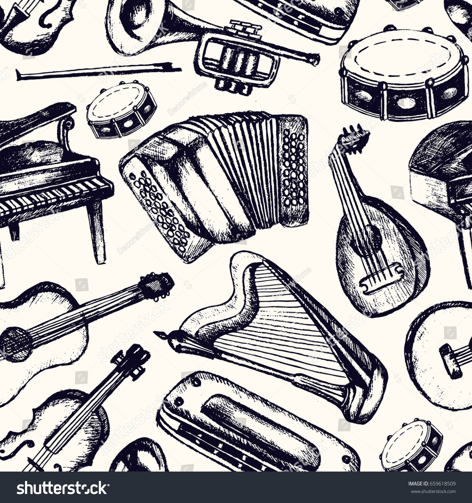 musical instruments one color vector hand stock vector 659618509