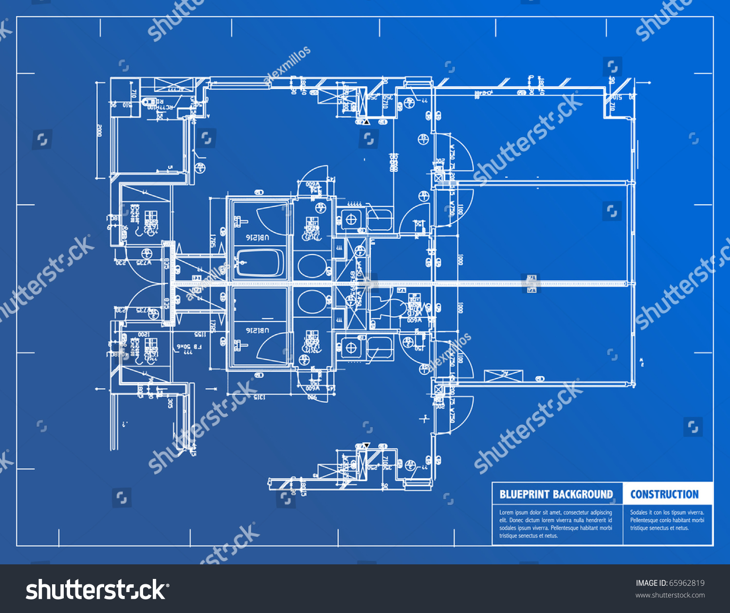 Sample architectural blueprints over blue background stock for Architecture design blueprint