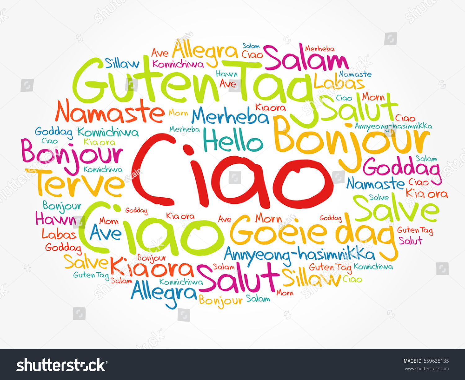 Ciao hello greeting italian word cloud stock vector 659635135 ciao hello greeting in italian word cloud in different languages of the world kristyandbryce Gallery