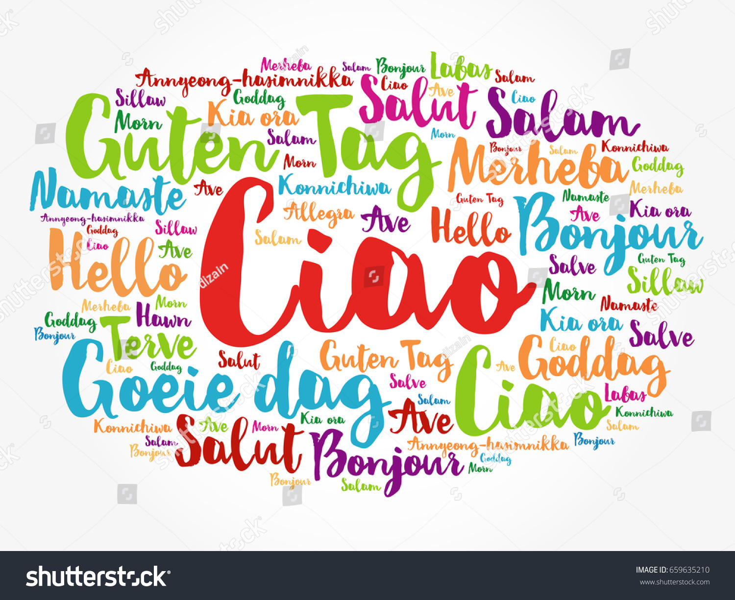 Ciao hello greeting italian word cloud stock vector 659635210 ciao hello greeting in italian word cloud in different languages of the world kristyandbryce Gallery