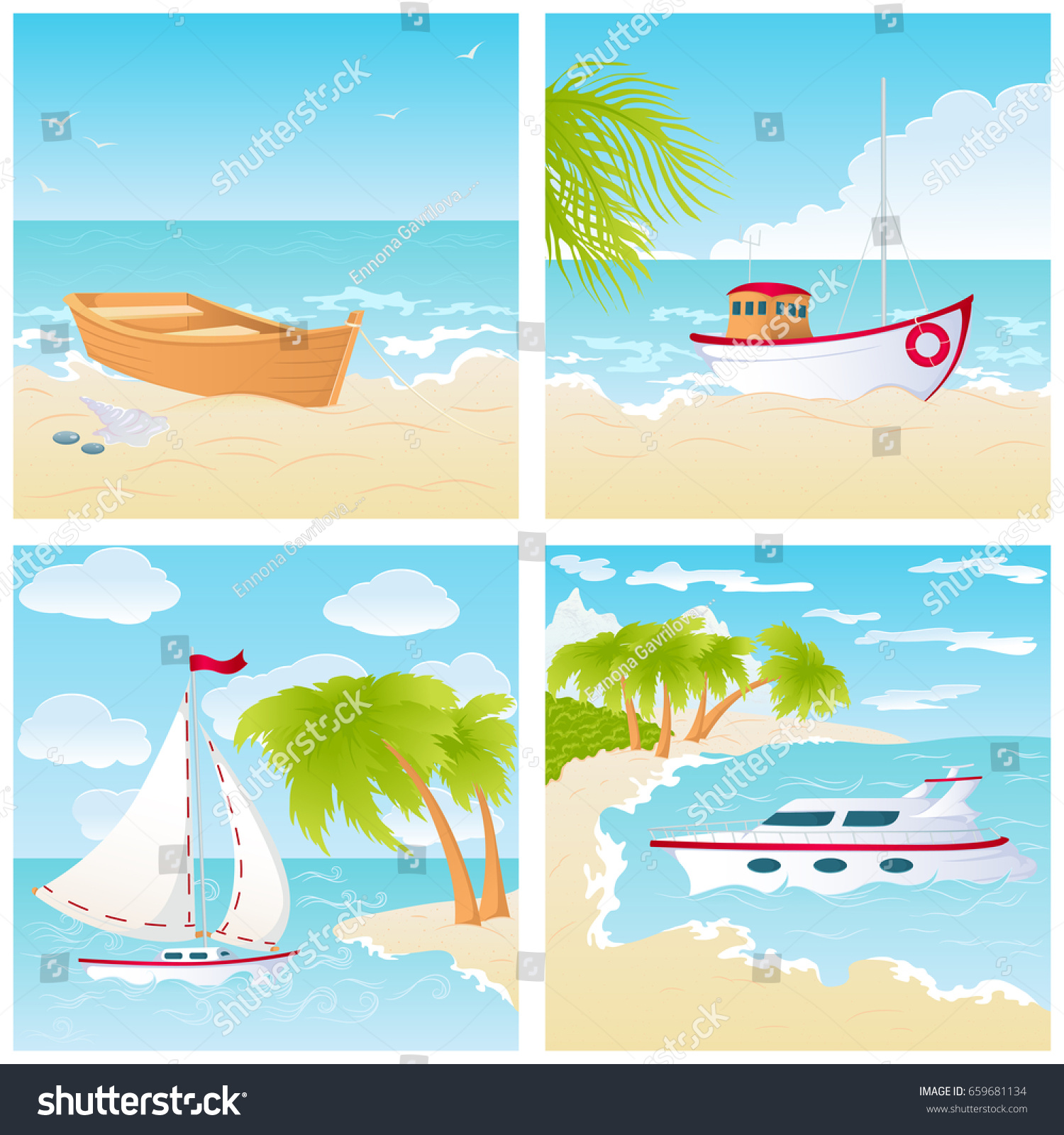 set four seascapes different types boats stock vector 659681134