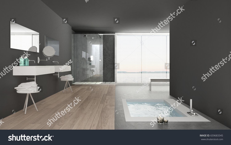 Minimalist White Gray Bathroom Bath Tub Stock Illustration ...
