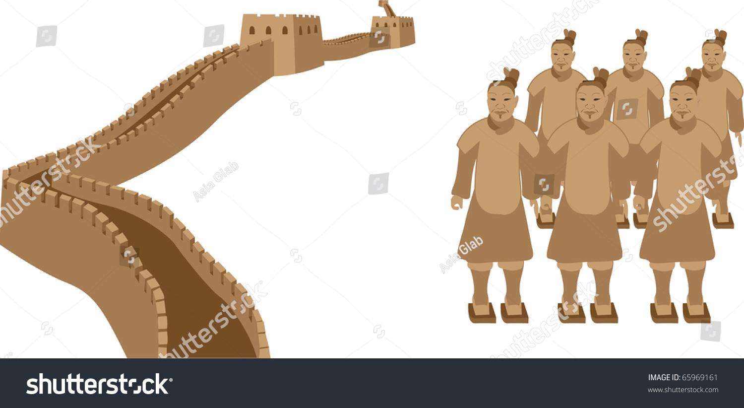 great wall china terracotta warriors stock vector 65969161