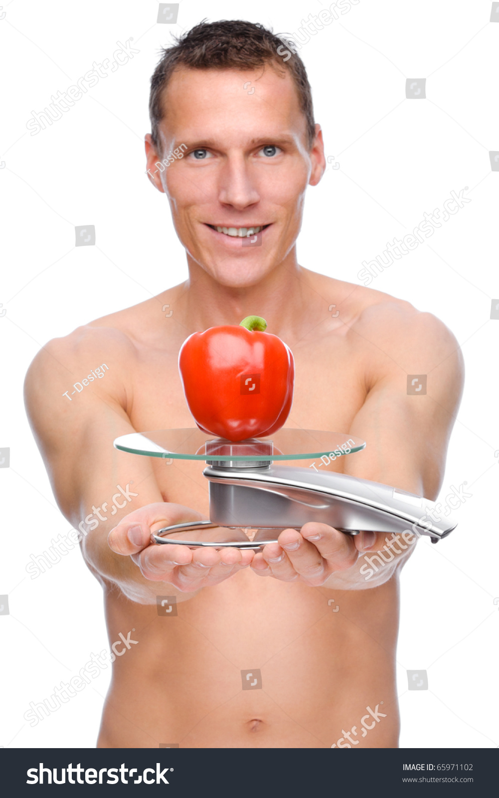 Full isolated studio picture from a young naked man with scales and pepper #65971102
