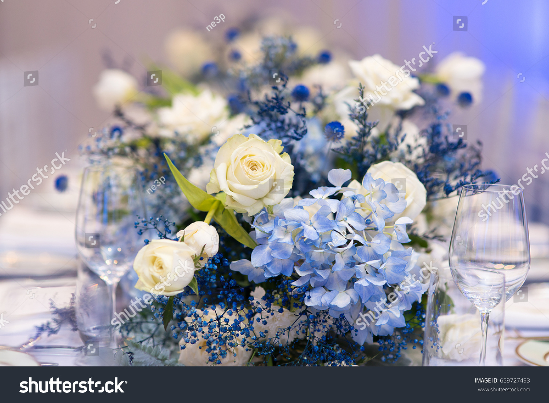 White Blue Flower Decoration On Fine Stock Photo Edit Now