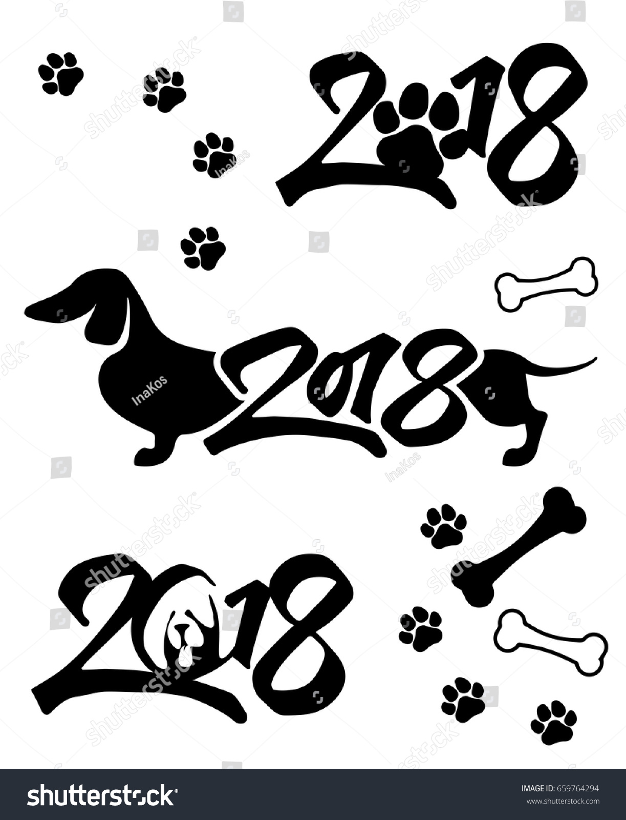 black and white isolated logo 2018 on white background template for new years