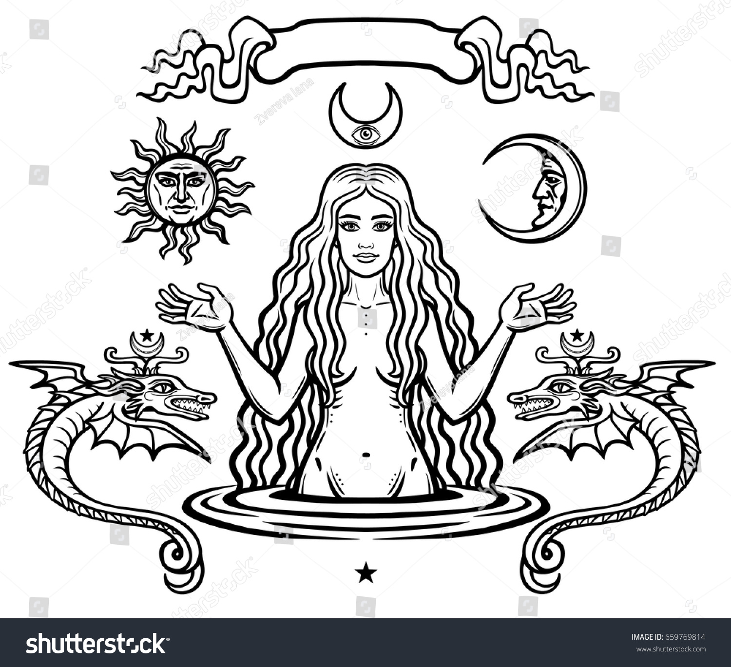 Set Alchemical Symbols Young Beautiful Woman Stock Vector 659769814