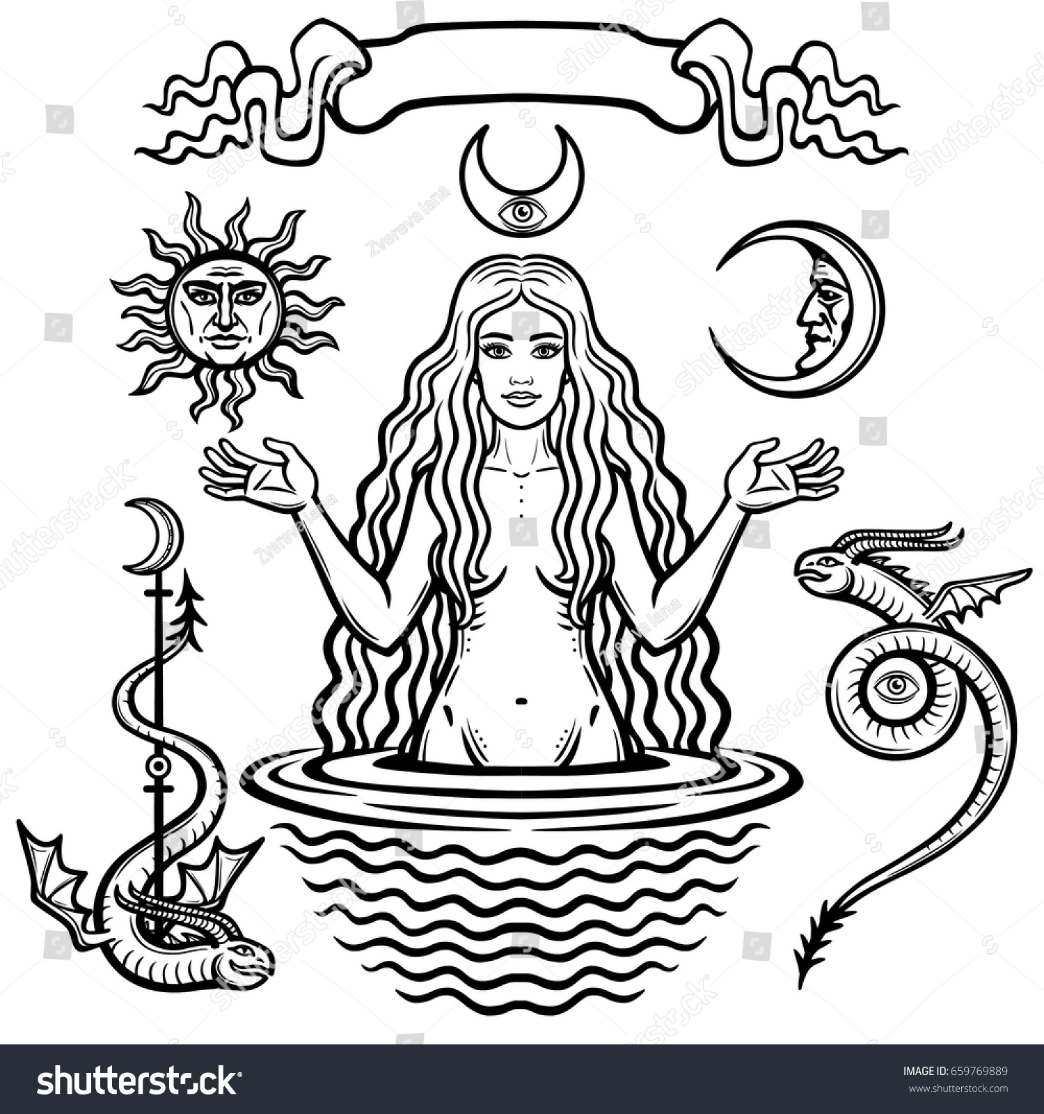 Set alchemical symbols young beautiful woman stock vector set of alchemical symbols young beautiful woman holds sun and moon in hand eves biocorpaavc Images