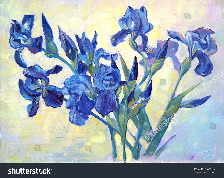 Fleurdelis beautiful oil painting irises flowers stock illustration a beautiful oil painting of irises flowers on a izmirmasajfo