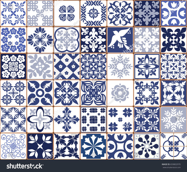 Blue portuguese tiles pattern azulejos fashion stock for Tile fashion