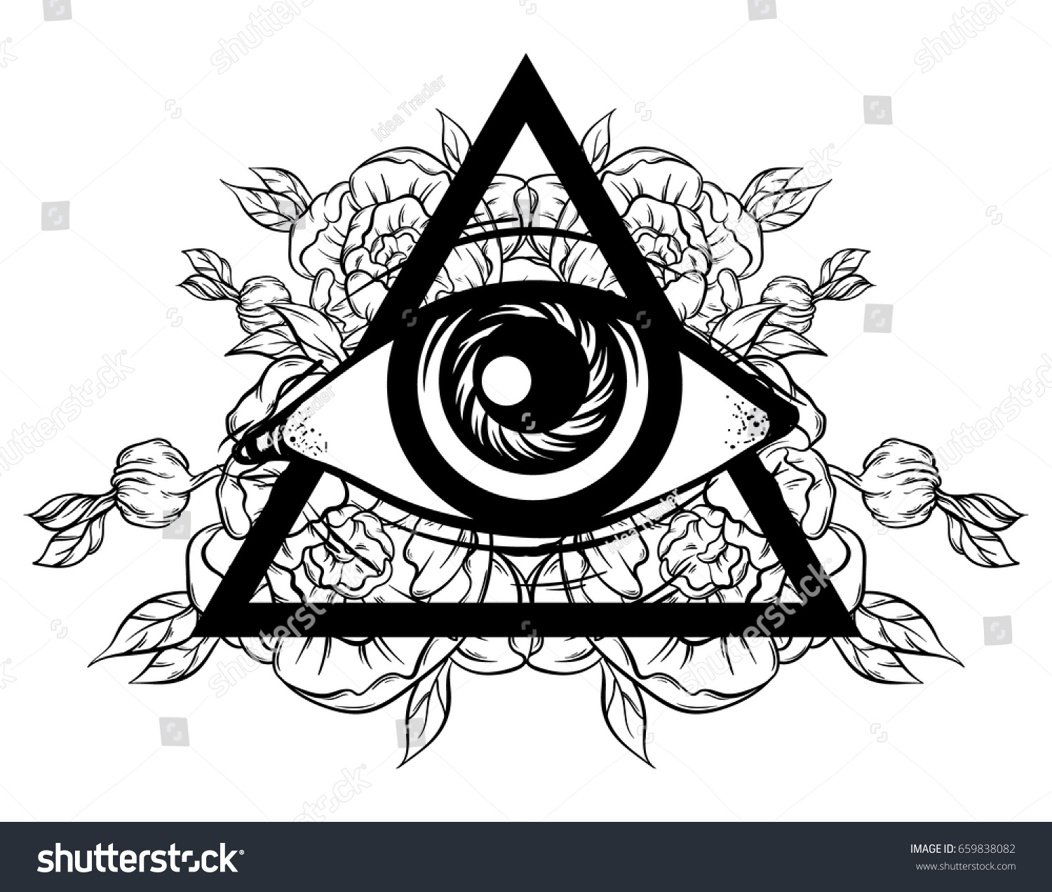Vector Hand Sketched Illustration All Seeing Stock Vector Royalty