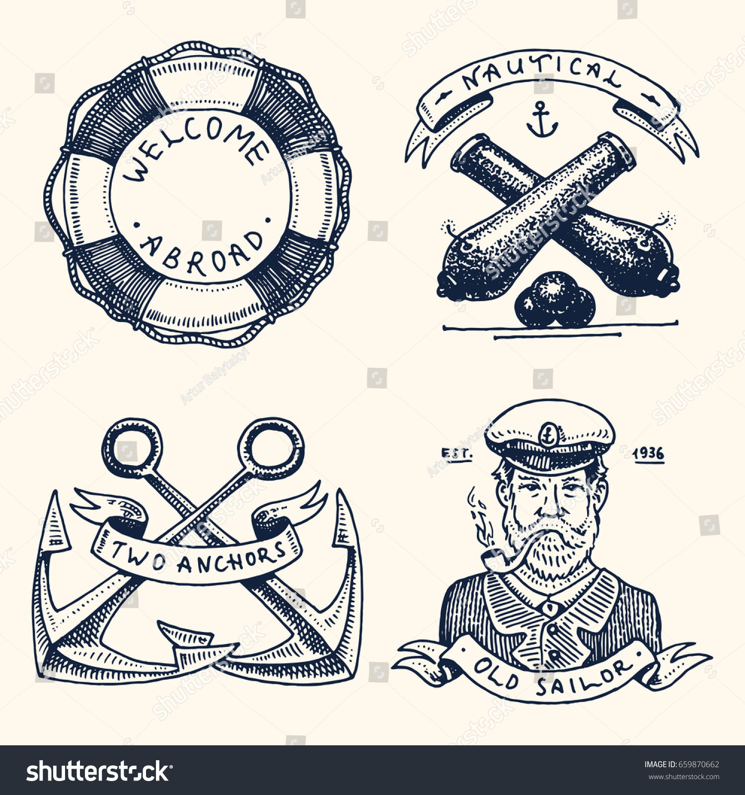 Welcome aboard boat ships life ring clock - Set Of Engraved Vintage Hand Drawn Old Labels Or Badges For A Life